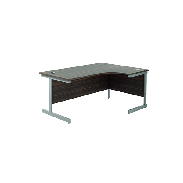 Radial Jemini Right Hand Radial Cantilever Desk 1600x1200mm Dark Walnut/Silver KF801830
