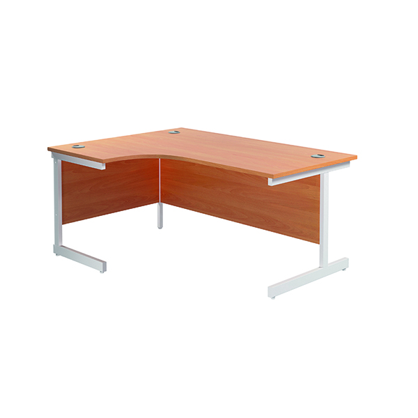 Radial Jemini Left Hand Radial Cantilever Desk 1600x1200mm Beech/White KF801846