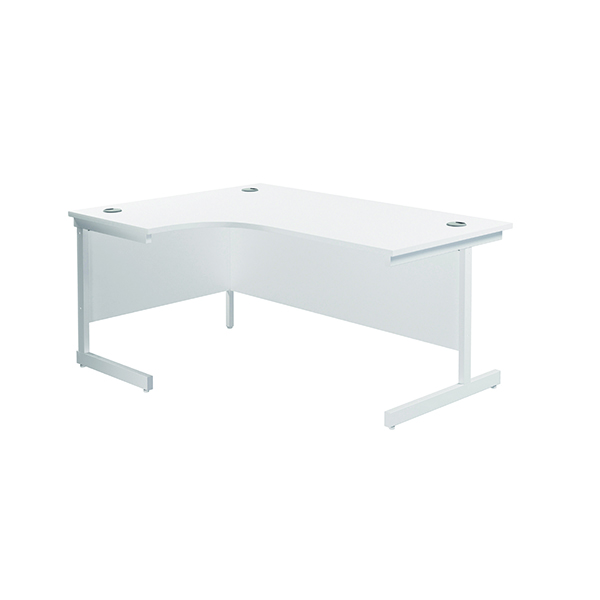 Radial Jemini Left Hand Radial Cantilever Desk 1600x1200mm White/White KF801874