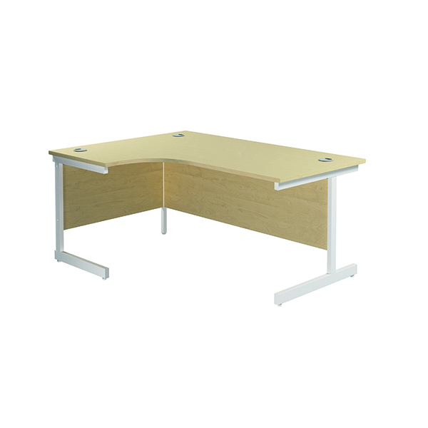 Radial Jemini Left Hand Radial Cantilever Desk 1600x1200mm Maple/White KF801880