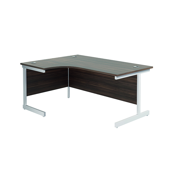 Radial Jemini Left Hand Radial Cantilever Desk 1600x1200mm Dark Walnut/White KF801896