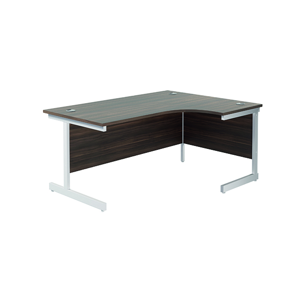 Radial Jemini Right Hand Radial Cantilever Desk 1600x1200mm Dark Walnut/White KF801958