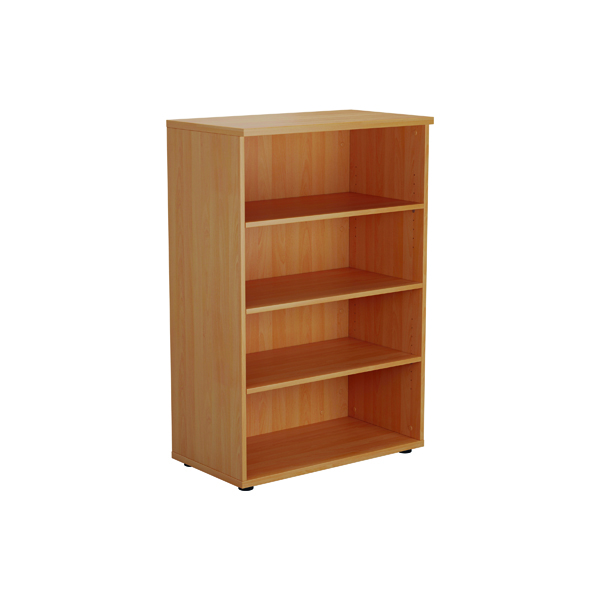 Up To 1200mm High Jemini 1200mm 3 Shelf Wooden Bookcase 450mm Depth Beech KF810216