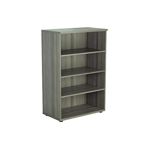 H up to 1200mm Jemini 1200mm 3 Shelf Wooden Bookcase 450mm Depth Grey Oak KF810346