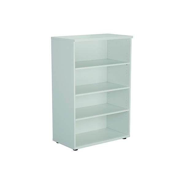 H up to 1200mm Jemini 1200mm 3 Shelf Wooden Bookcase 450mm Depth White KF810377