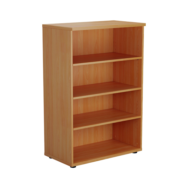 Up To 1200mm High Jemini 1600mm 4 Shelf Wooden Bookcase 450mm Depth Beech KF810384