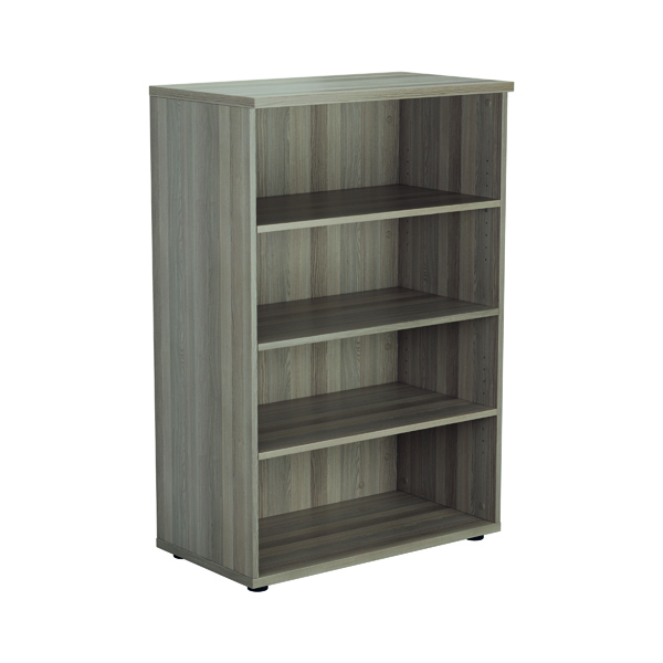 Up To 1200mm High Jemini 1600mm 4 Shelf Wooden Bookcase 450mm Depth Grey Oak KF810513