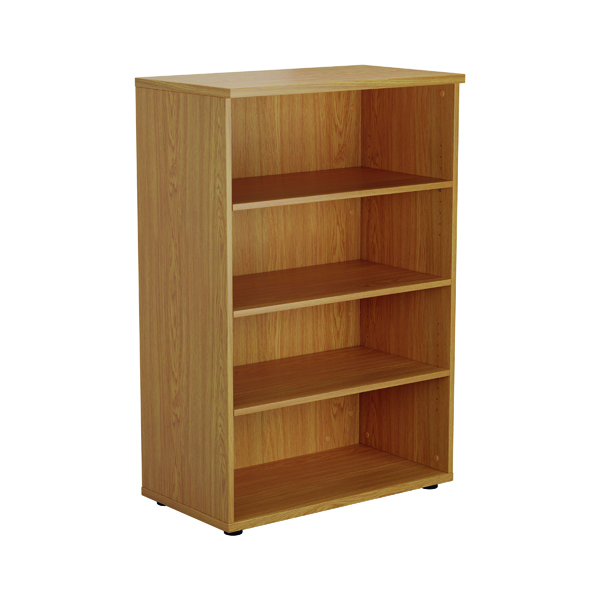 Up To 1200mm High Jemini 1600mm 4 Shelf Wooden Bookcase 450mm Depth Nova Oak KF810537