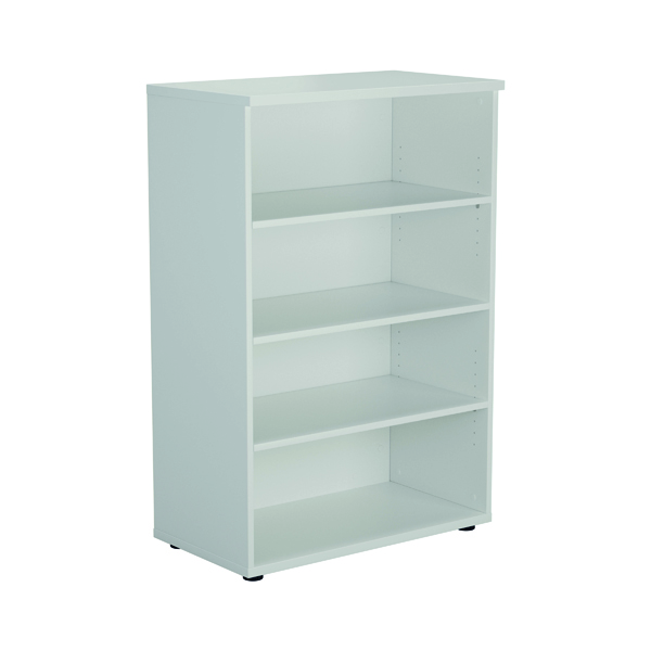 Up To 1200mm High Jemini 1600mm 4 Shelf Wooden Bookcase 450mm Depth White KF810544