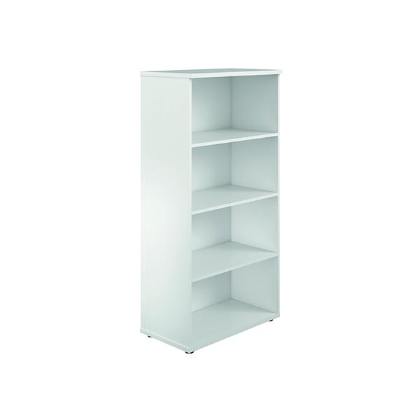 H up to 1200mm Jemini 1600mm 4 Shelf Wooden Bookcase 450mm Depth White KF810544