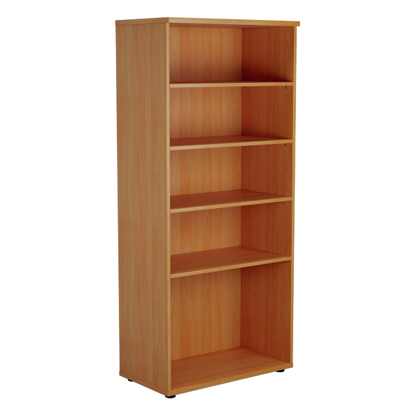 Up To 1200mm High Jemini 1800mm 4 Shelf Wooden Bookcase 450mm Depth Beech KF810551