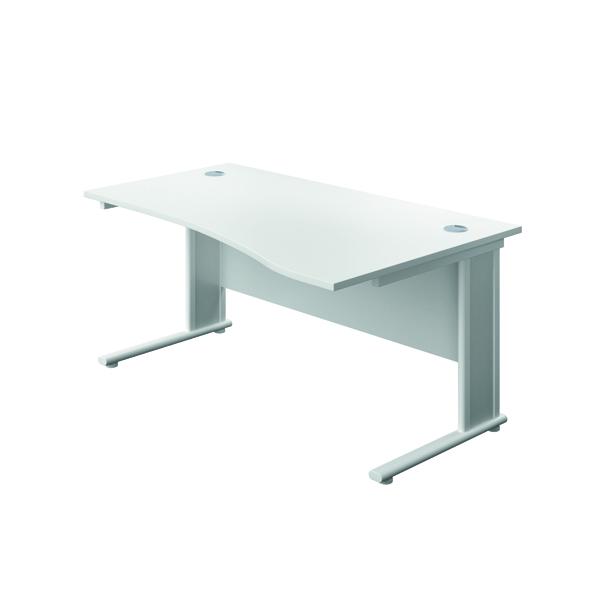 Rectangular Desks Jemini Double Upright Wooden Insert Right Hand Wave Desk 1600x1000mm White/White KF813750