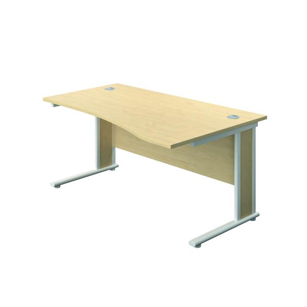 Rectangular Desks Jemini Double Upright Wooden Insert Right Hand Wave Desk 1600x1000mm Maple/White KF813767