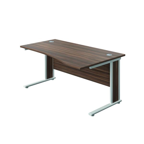 Rectangular Desks Jemini Double Upright Wooden Insert Right Hand Wave Desk 1600x1000mm Dark Walnut/White KF813774