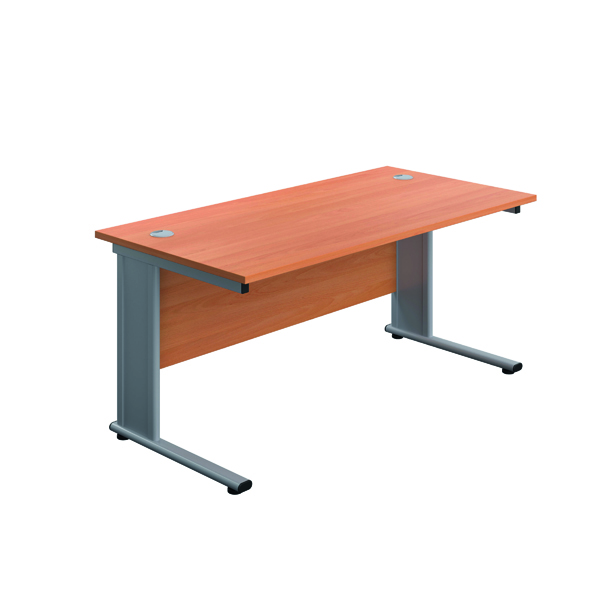 Rectangular Desks Jemini Double Upright Metal Insert Rectangular Desk 800x600mm Beech/Silver KF813781