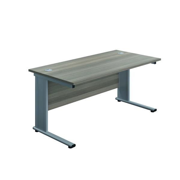 Rectangular Desks Jemini Double Upright Metal Insert Rectangular Desk 800x600mm Grey Oak/Silver KF813798