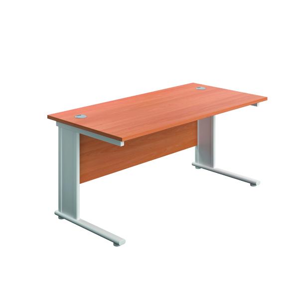 Rectangular Desks Jemini Double Upright Metal Insert Rectangular Desk 800x600mm Beech/White KF813842
