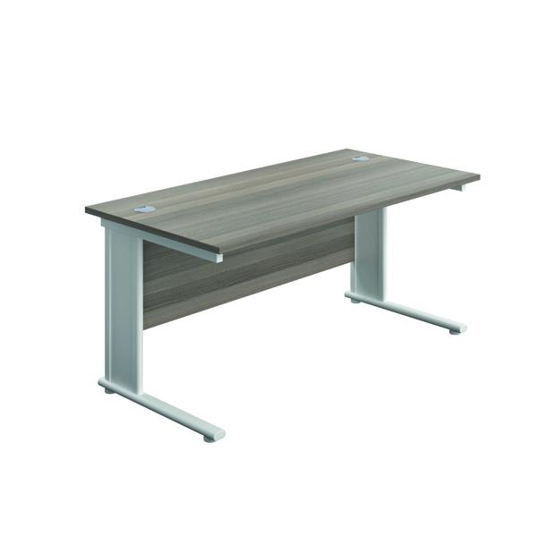 Rectangular Desks Jemini Double Upright Metal Insert Rectangular Desk 800x600mm Grey Oak/White KF813859