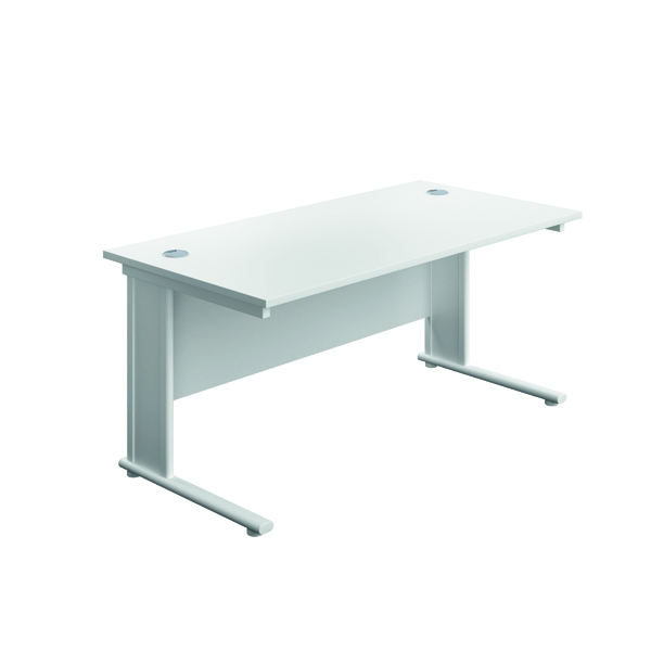 Rectangular Desks Jemini Double Upright Metal Insert Rectangular Desk 800x600mm White/White KF813873
