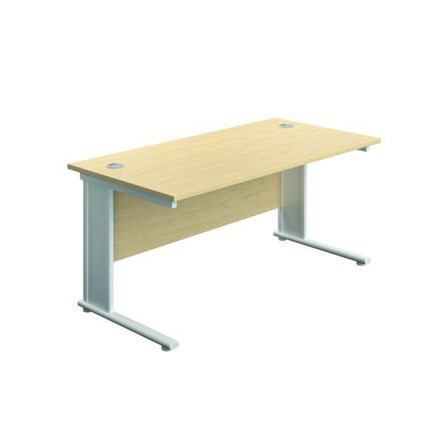 Rectangular Desks Jemini Double Upright Metal Insert Rectangular Desk 800x600mm Maple/White KF813880