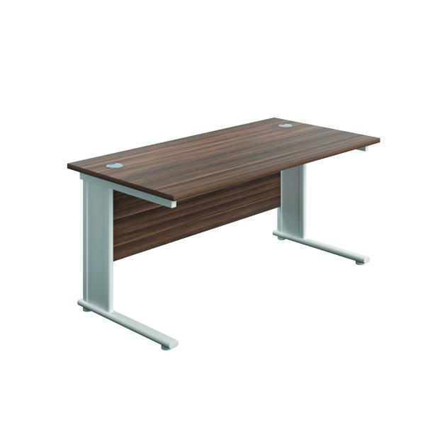 Rectangular Desks Jemini Double Upright Metal Insert Rectangular Desk 800x600mm Dark Walnut/White KF813897