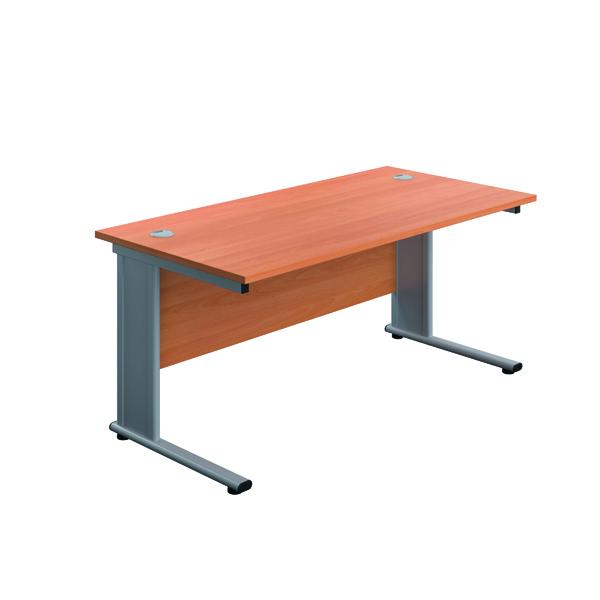 Rectangular Desks Jemini Double Upright Metal Insert Rectangular Desk 1200x600mm Beech/Silver KF813903
