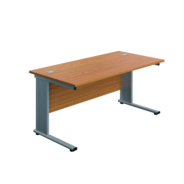 Rectangular Desks Jemini Double Upright Metal Insert Rectangular Desk 1200x600mm Nova Oak/Silver KF813927