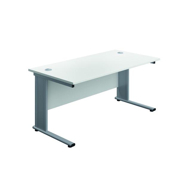 Rectangular Desks Jemini Double Upright Metal Insert Rectangular Desk 1200x600mm White/Silver KF813934