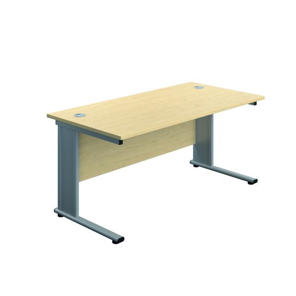 Rectangular Desks Jemini Double Upright Metal Insert Rectangular Desk 1200x600mm Maple/Silver KF813941