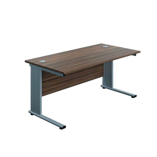 Rectangular Desks Jemini Double Upright Metal Insert Rectangular Desk 1200x600mm Dark Walnut/Silver KF813958