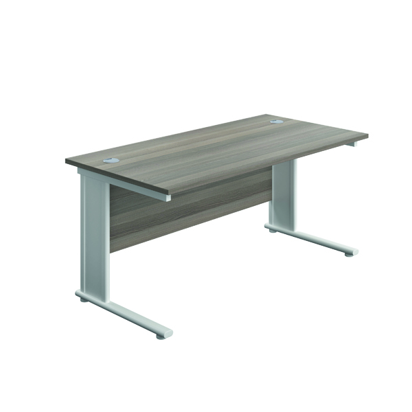 Rectangular Desks Jemini Double Upright Metal Insert Rectangular Desk 1200x600mm Grey Oak/White KF813972