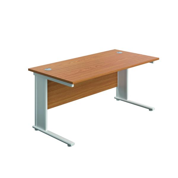 Rectangular Desks Jemini Double Upright Metal Insert Rectangular Desk 1200x600mm Nova Oak/White KF813989