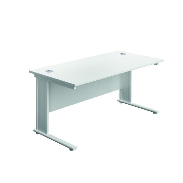 Rectangular Desks Jemini Double Upright Metal Insert Rectangular Desk 1200x600mm White/White KF813996