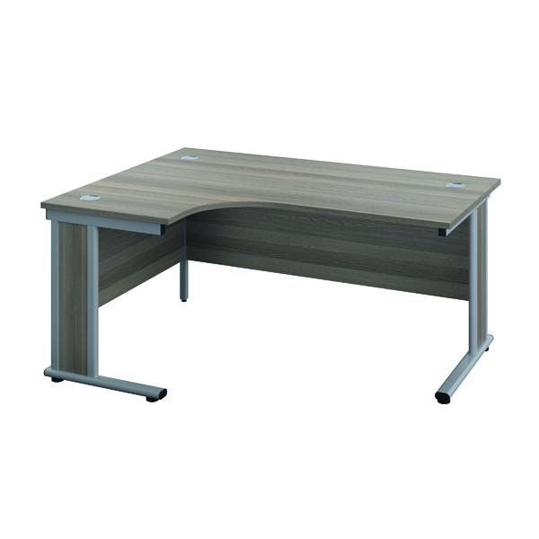 Rectangular Desks Jemini Double Upright Wooden Insert Left Hand Radial Desk 1200x1200mm Grey Oak/Silver KF817712