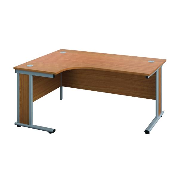Rectangular Desks Jemini Double Upright Wooden Insert Left Hand Radial Desk 1200x1200mm Nova Oak/Silver KF817729