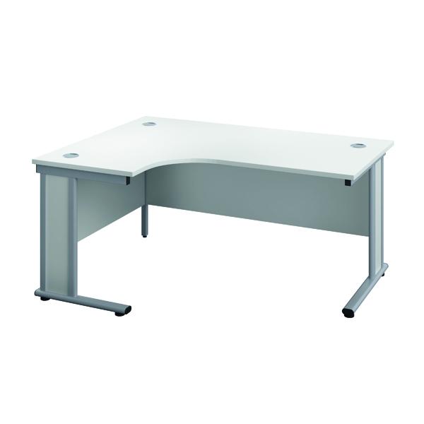 Rectangular Desks Jemini Double Upright Wooden Insert Left Hand Radial Desk 1200x1200mm White/Silver KF817736