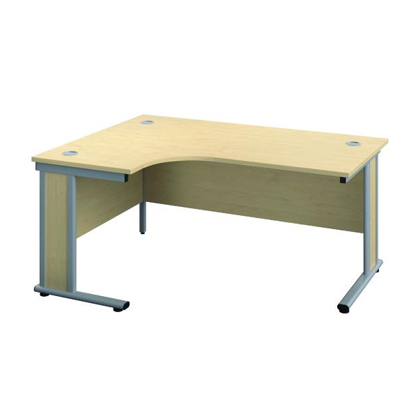 Rectangular Desks Jemini Double Upright Wooden Insert Left Hand Radial Desk 1200x1200mm Maple/Silver KF817743