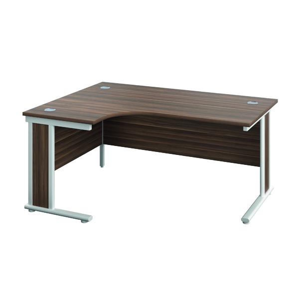 Rectangular Desks Jemini Double Upright Wooden Insert Left Hand Radial Desk 1200x1200mm Dark Walnut/Silver KF817750