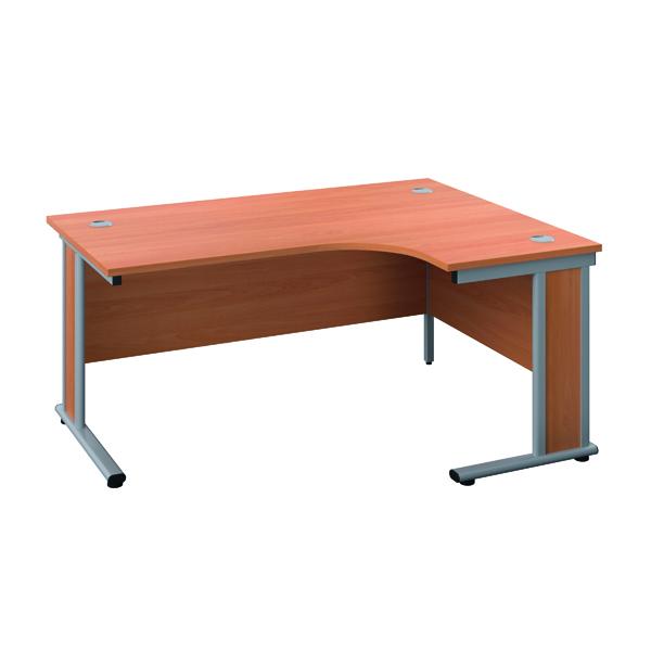Rectangular Desks Jemini Double Upright Wooden Insert Right Hand Radial Desk 1200x1200mm Beech/Silver KF817767