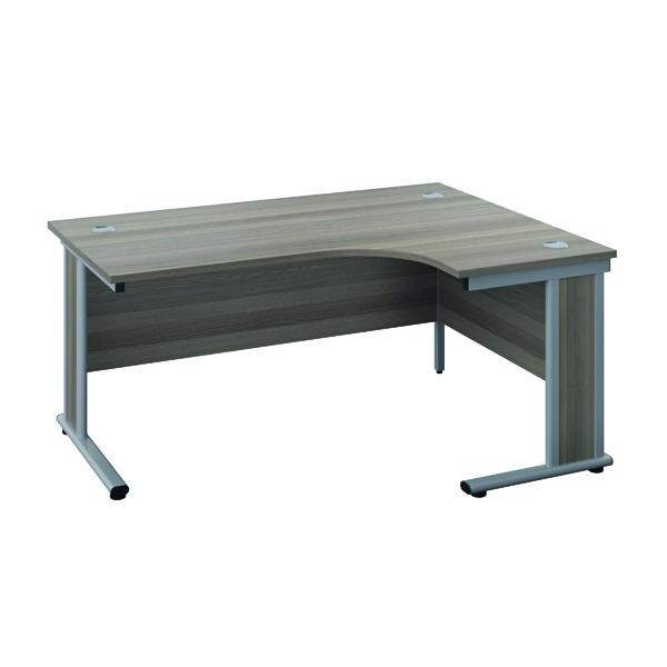 Rectangular Desks Jemini Double Upright Wooden Insert Right Hand Radial Desk 1200x1200mm Grey Oak/Silver KF817773