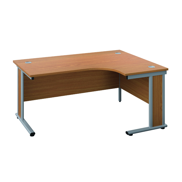 Rectangular Desks Jemini Double Upright Wooden Insert Right Hand Radial Desk 1200x1200mm Nova Oak/Silver KF817780