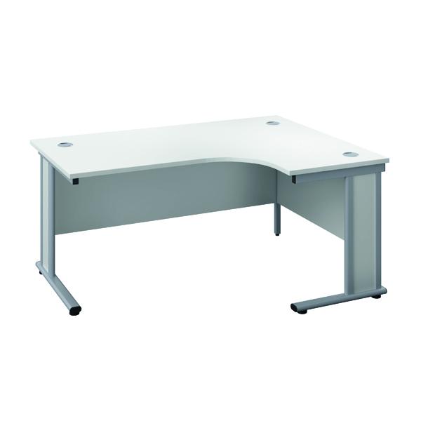 Rectangular Desks Jemini Double Upright Wooden Insert Right Hand Radial Desk 1200x1200mm White/Silver KF817797