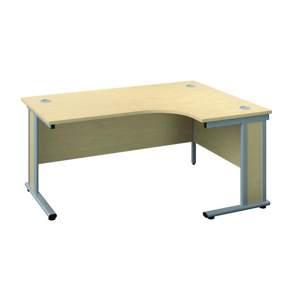 Rectangular Desks Jemini Double Upright Wooden Insert Right Hand Radial Desk 1200x1200mm Maple/Silver KF817804