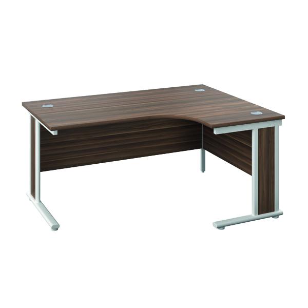 Rectangular Desks Jemini Double Upright Wooden Insert Right Hand Radial Desk 1200x1200mm Dark Walnut/Silver KF817811