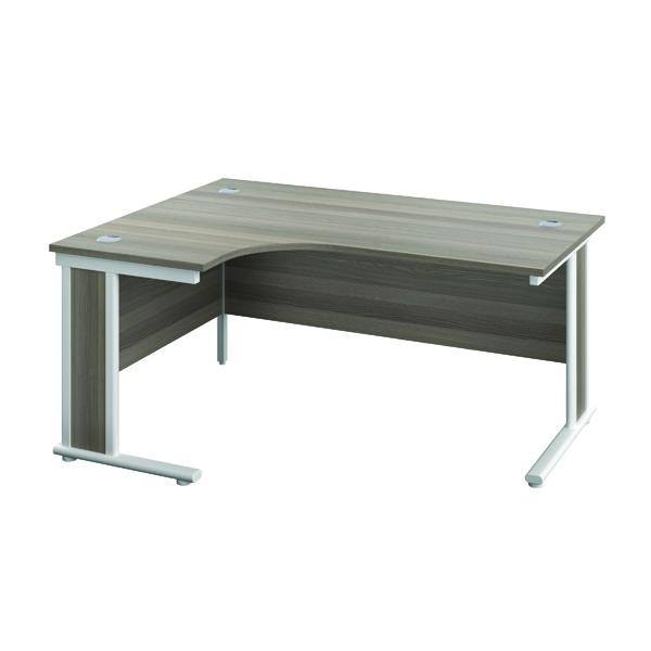 Rectangular Desks Jemini Double Upright Wooden Insert Left Hand Radial Desk 1200x1200mm Grey Oak/White KF817835