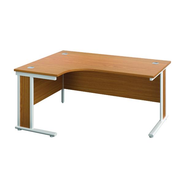 Rectangular Desks Jemini Double Upright Wooden Insert Left Hand Radial Desk 1200x1200mm Nova Oak/White KF817842