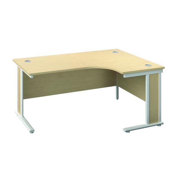 Rectangular Desks Jemini Double Upright Wooden Insert Left Hand Radial Desk 1200x1200mm Maple/White KF817866