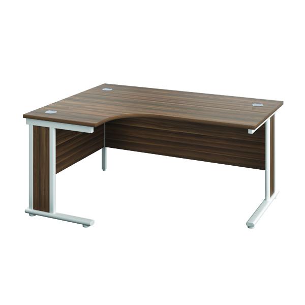 Rectangular Desks Jemini Double Upright Wooden Insert Left Hand Radial Desk 1200x1200mm Dark Walnut/White KF817872