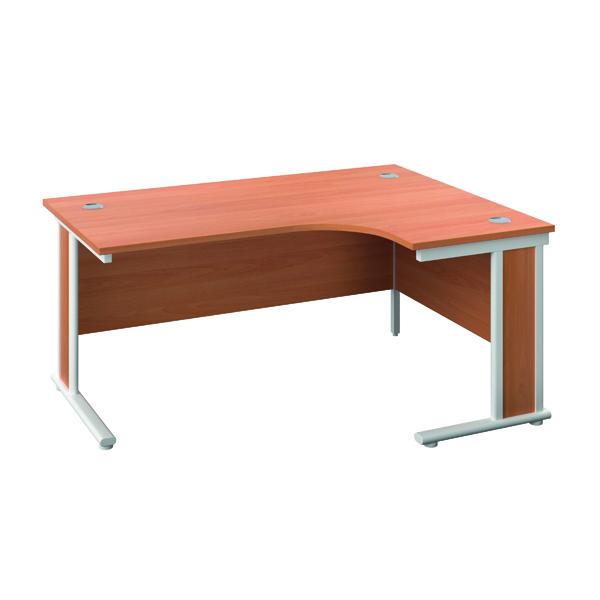 Rectangular Desks Jemini Double Upright Wooden Insert Right Hand Radial Desk 1200x1200mm Beech/White KF817889