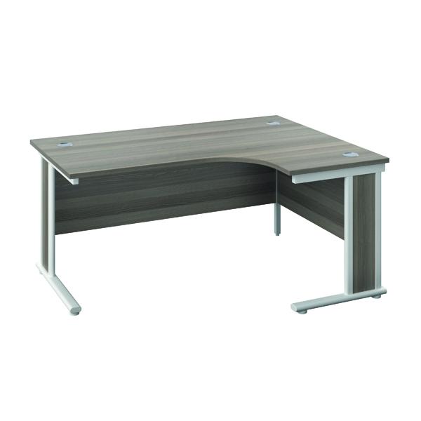 Rectangular Desks Jemini Double Upright Wooden Insert Right Hand Radial Desk 1200x1200mm Grey Oak/White KF817896